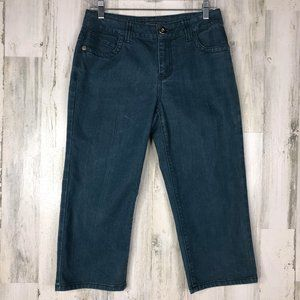 Baccini dyed denim teal capri jeans size 6P